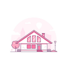 Townhouse - modern thin line design style vector