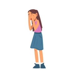 Unhappy crying girl sad child wearing skirt and vector