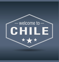 welcome to chile hexagonal white vintage label vector image