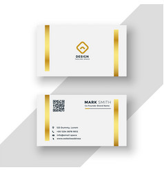 White and gold premium business card template vector