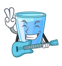 With guitar water glass isolated on the mascot vector
