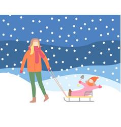 Woman walking outdoor on snowing hills vector