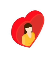 Women in heart isometric 3d icon vector