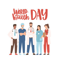 world health day banner with elegant lettering vector image