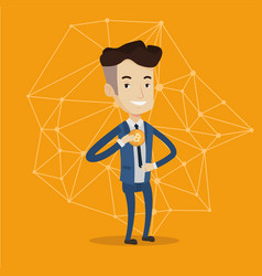 Young businessman putting bitcoin coin in pocket vector
