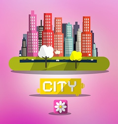 Abstract Spring City on Pink Background vector image