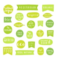 Big set of healthy food badges Bio organic vector image