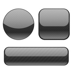 black buttons collection of shiny 3d icons vector image