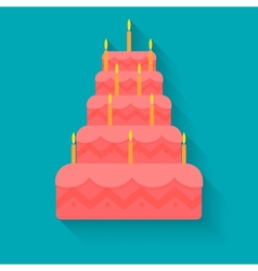cake for birthday in style flat vector image vector image