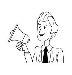 cartoon business man holding megaphone vector image