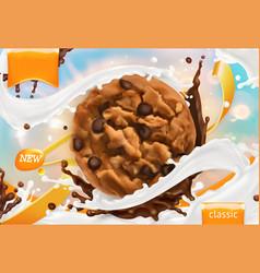chocolate cookies white milk splash 3d realistic vector image vector image