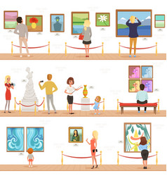 cute cartoon visitors and guide characters in art vector image