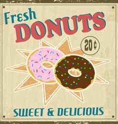 Donuts vintage poster vector image
