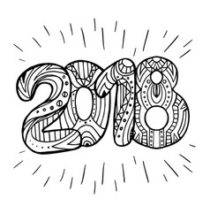 doodle year 2018 with boho pattern new year vector image vector image
