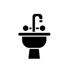 sink with tap icon blac vector image