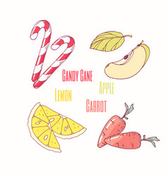 Sweet toppings candy cane apple lemon and carrot vector