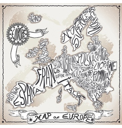 Europe Map on Vintage Handwriting Page vector image vector image