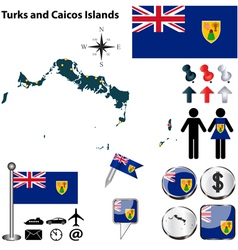 Turks and Caicos Islands map vector image vector image