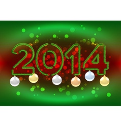 2014 sign with christmas tree branches vector image
