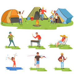 camper people set tourists traveling camping and vector image