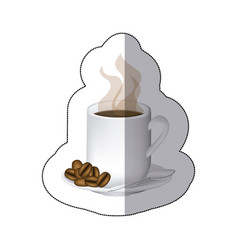 Coffee cuppa with steam and coffee grains in the vector