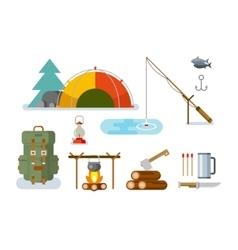 Fishing Hunting Items Flat Design vector image vector image
