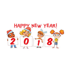 holding poster new year 2018 vector image vector image