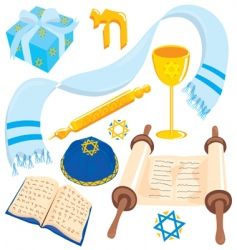 bar or mat mitzvah icons vector image vector image