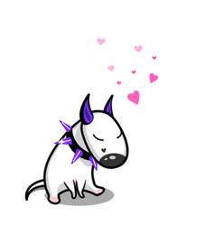 cute cartoon dog white bull terrier in vector image vector image