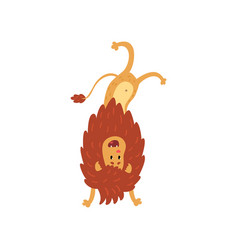 cute lion cub cartoon character standing upside vector image vector image