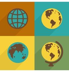 Flat Planet symbol set vector image vector image