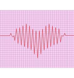 red heart beats with cardiogram vector image