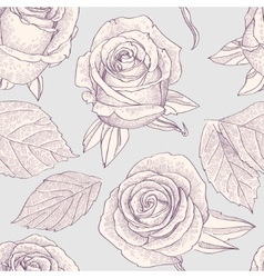 Seamless pattern with engraved roses vector image vector image