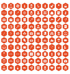 100 case icons hexagon orange vector