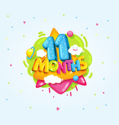 11 months baby vector