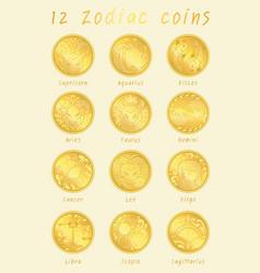 12 zodiac golden cions sign vector