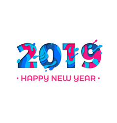 2019 happy new year paper cut card vector image