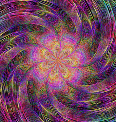 Abstract rotating colorful fractal art background vector image