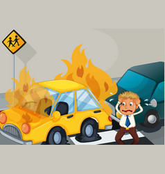 Accident scene with two cars on fire vector