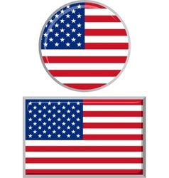 American round and square icon flag vector