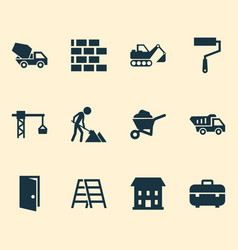 Architecture icons set with equipment digger vector