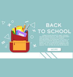 back to school banner with school supplies in vector image