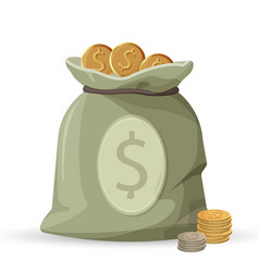bag of money with golden and silver coins isolated vector image