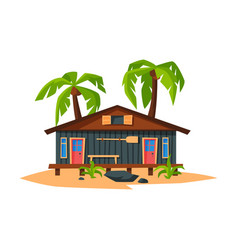 beach bungalow on coast sea or ocean summer vector image