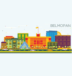 Belmopan skyline with color buildings and blue sky vector