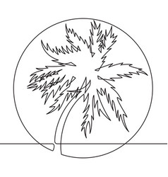 Black and white palm tree one line icon vector