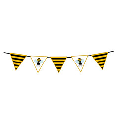 Bunting with bee and striped pattern vector