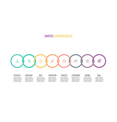 Business infographics timeline with 8 options vector