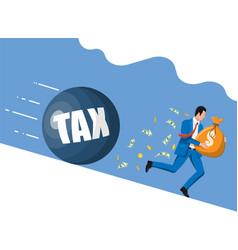 businessman running away from huge tax weight vector image