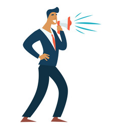 businessman with loudspeaker leader entrepreneur vector image